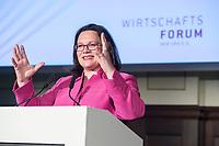 07 JUN 2018, BERLIN/GERMANY:<br /> Andrea Nahles, SPD, Fraktions- und Parteivorsitzende, haelt eine Rede auf dem Parlamentarischen Abend des SPD WIrtschaftsforums, Meistersaal<br /> IMAGE: 20180607-01-182