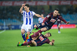 February 28, 2017 - San Sebastian, Spain - Match day of La Liga Santander 2016 - 2017 season between Real Sociedad and S.D Eibar, played Anoeta Stadium on Thuesday, March 28th, 2017. San Sebastian, Spain. 19 A. Luna, 18 Oyarzabal, 20 Lejeune. (Credit Image: © Ion Alcoba/VW Pics via ZUMA Wire/ZUMAPRESS.com)