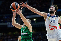 Real Madrid's player Sergio Llull and Panathinaikos's player Eleftherios Bochoridis during match of Turkish Airlines Euroleague at Barclaycard Center in Madrid. November 16, Spain. 2016. (ALTERPHOTOS/BorjaB.Hojas)