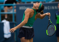 August 15, 2018 - Aryna Sabalenka of Belarus in action during her second-round match at the 2018 Western & Southern Open WTA Premier 5 tennis tournament. Cincinnati, Ohio, USA. August 15th 2018. (Credit Image: © AFP7 via ZUMA Wire)