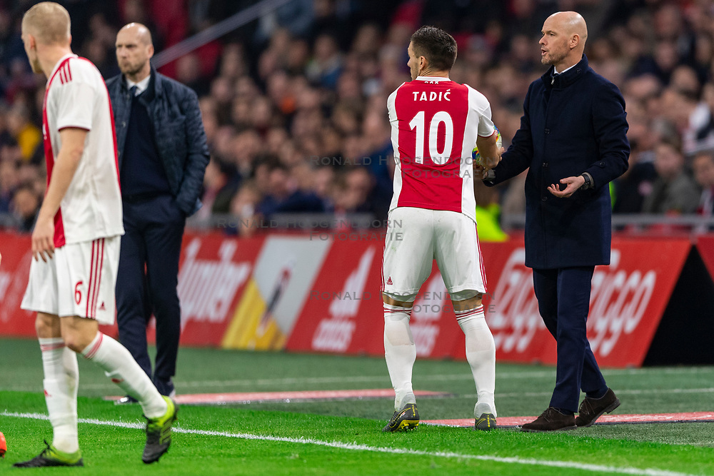 13-03-2019 NED: Ajax - PEC Zwolle, Amsterdam<br /> Ajax has booked an oppressive victory over PEC Zwolle without entertaining the public 2-1 / Dusan Tadic #10 of Ajax, Coach Erik ten Hag of Ajax