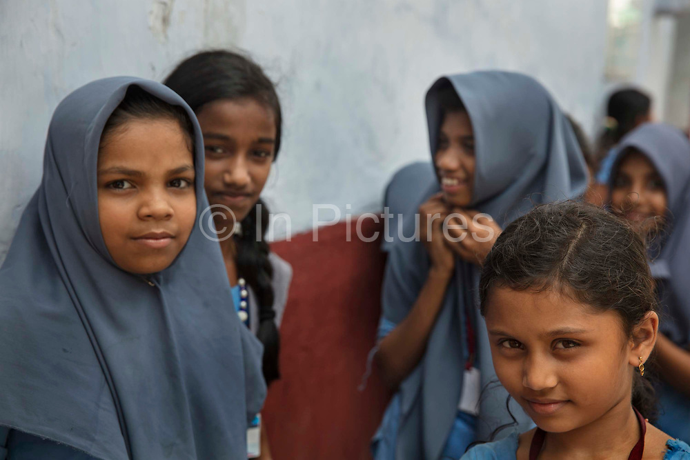 Muslim girls visiting a Synagogue in historic Jew Town, the heart of the once-thriving Jewish community on 28th February 2018 in Kochi, Kerala, India. Cochin Jews also known as Malabar Jews  are the oldest group of Jews in India, with roots that are claimed to date back to the time of King Solomon.