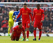 Emre Can of Liverpool screams out following a tackle made on him during the English Premier League match at Anfield Stadium, Liverpool. Picture date: April 1st 2017. Pic credit should read: Simon Bellis/Sportimage