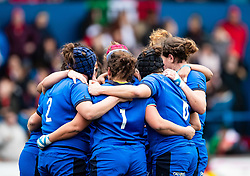 Italy players huddle<br /> <br /> Photographer Simon King/Replay Images<br /> <br /> Six Nations Round 1 - Wales Women v Italy Women - Saturday 2nd February 2020 - Cardiff Arms Park - Cardiff<br /> <br /> World Copyright © Replay Images . All rights reserved. info@replayimages.co.uk - http://replayimages.co.uk