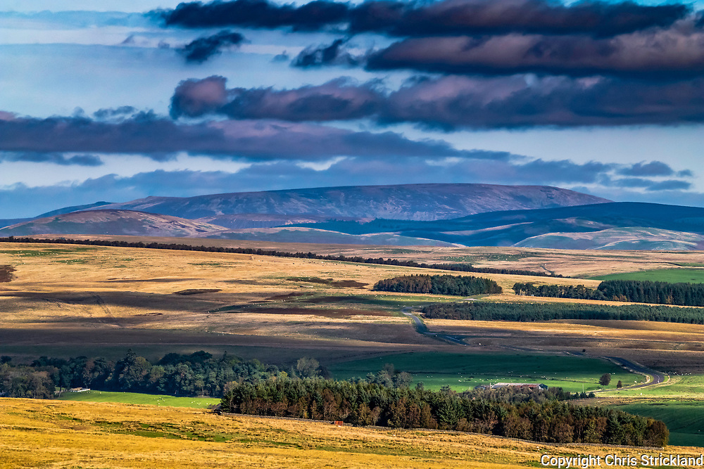 Troughend, Otterburn, Northumberland, England, UK. 29th September 2018. Looking north across Blakehope fell in Northumberland National Park to the Big Cheviot and the Anglo Scottish Border on the skyline.