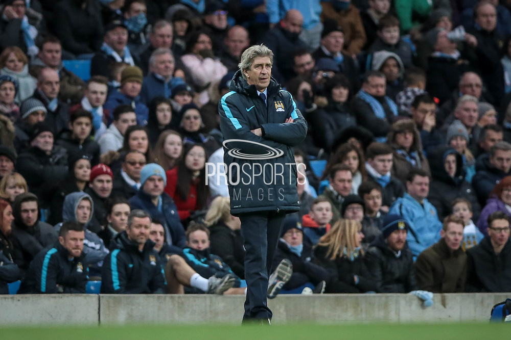 Manuel Pellegrini (Manchester City) during the Barclays Premier League match between Manchester City and Tottenham Hotspur at the Etihad Stadium, Manchester, England on 14 February 2016. Photo by Mark P Doherty.