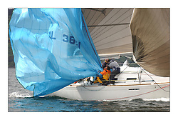 Yachting- The first days inshore racing  of the Bell Lawrie Scottish series 2003 at Tarbert Loch Fyne.  Light shifty winds dominated the racing...Tom O'Reilly's 'Galileo' a First 36.7 dropping the spinnaker...Pics Marc Turner / PFM