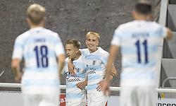 Målscorer Jeppe Kjær (FC Helsingør) jubler efter Lucas Haren efter scoringen til 4-2 under kampen i 1. Division mellem FC Helsingør og Silkeborg IF den 11. september 2020 på Helsingør Stadion (Foto: Claus Birch).