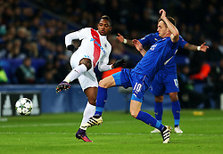 Andy King of Leicester City challenges Jose Izquierdo of Club Brugge - Mandatory by-line: Matt McNulty/JMP - 22/11/2016 - FOOTBALL - King Power Stadium - Leicester, England - Leicester City v Club Brugge - UEFA Champions League