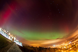 The Northern Lights, Aurora Borealis, as seen tonight from the esplanade at Stirling Castle, just before 10pm. Picture taken with a 5 minute exposure.
