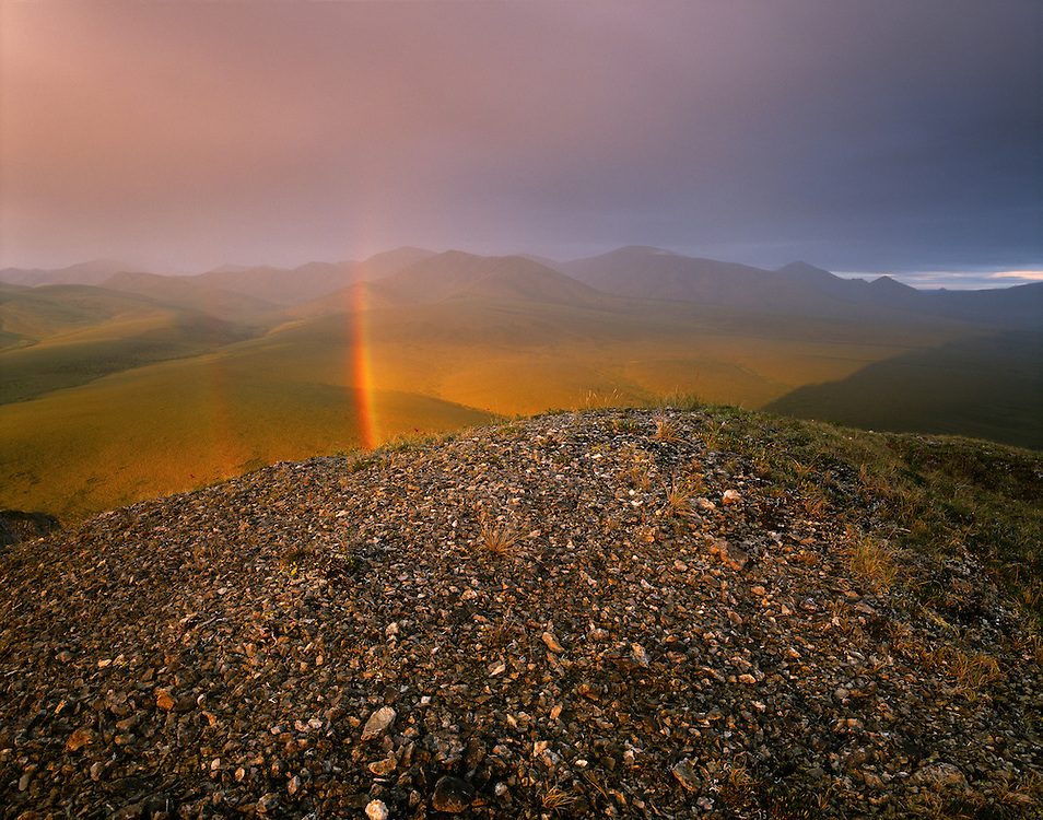 Canada, Yukon, Ivvavik NP, Stormy rainbow at midnight from Muskeg Creek tors above the Firth River