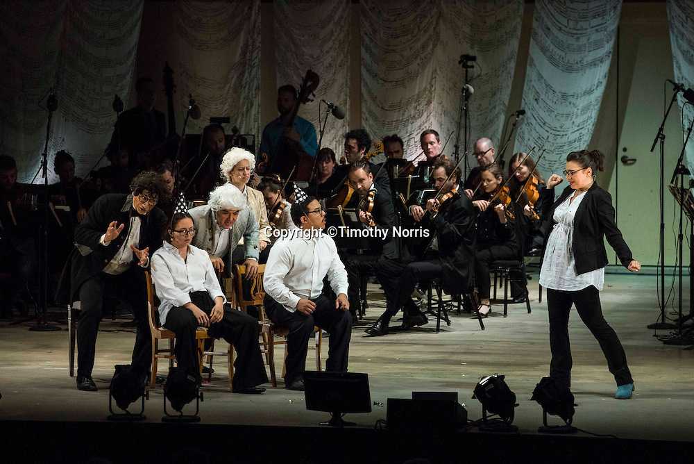 """Ashraf Sewailam (bass-baritone) as """"Beethoven"""", Peabody Southwell (mezzo-soprano) as """"Participant 1"""", Jennifer Zetlan (soprano) as """"Mozart"""",  Dominic Armstrong (tenor) as """"Haydn"""", Aubrey Allicock (bass-baritone) as """"Participant 2"""" and Rachel Calloway (mezzo-soprano) as """"Musicologist"""" in the world premiere of Steven Stucky and Jeremy Denk's The Classical Style: An Opera (of Sorts) at the 68th Ojai Music Festival at Libbey Bowl on June 13, 2014 in Ojai, California."""