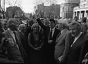 Clement Coughlan New Fianna Fáil TD.  (N50)..1989..11.11.1980..11th November 1980..The new Fianna Fáil TD for Donegal, Mr Clement Coughlan TD took his seat at Dáil Éireann, Leinster House today..A waving Clement Coughlan TD is pictured at Leinster House ,Dublin. Included in the photo are, wife, Peggy, Sean Moore TD and Sean Doherty TD.