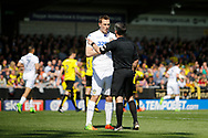 Leeds United striker Chris Wood (9) discusses disallowed goal with referee Darren Bond during the EFL Sky Bet Championship match between Burton Albion and Leeds United at the Pirelli Stadium, Burton upon Trent, England on 22 April 2017. Photo by Richard Holmes.