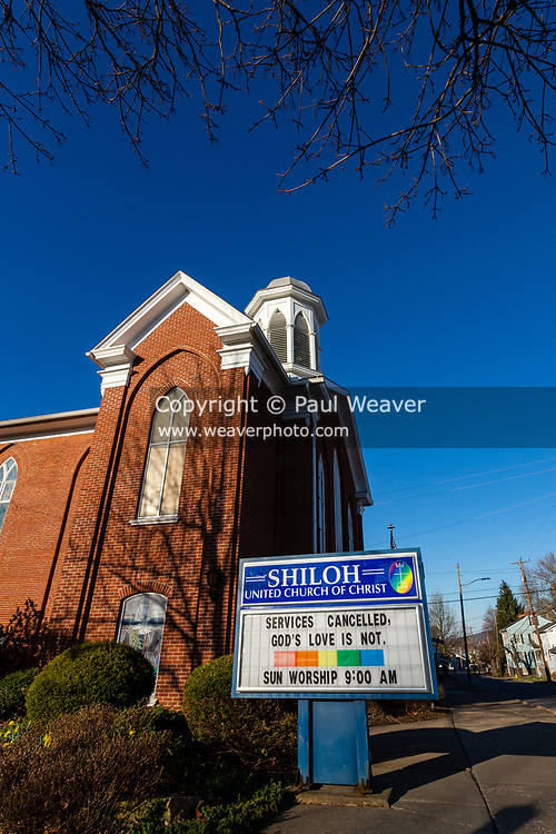 March 22, 2020 -- The sign in front of the Shiloh United Church of Christ in Danville, Pennsylvania alerts congregants that sevices are canceled due to the COVID-19 pandemic.