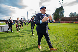 Arbroath's manager Dick Campbell cele after winning the league. Brechin City 1 v 1 Arbroath, Scottish Football League Division One played 13/4/2019 at Brechin City's home ground Glebe Park. Arbroath win promotion.