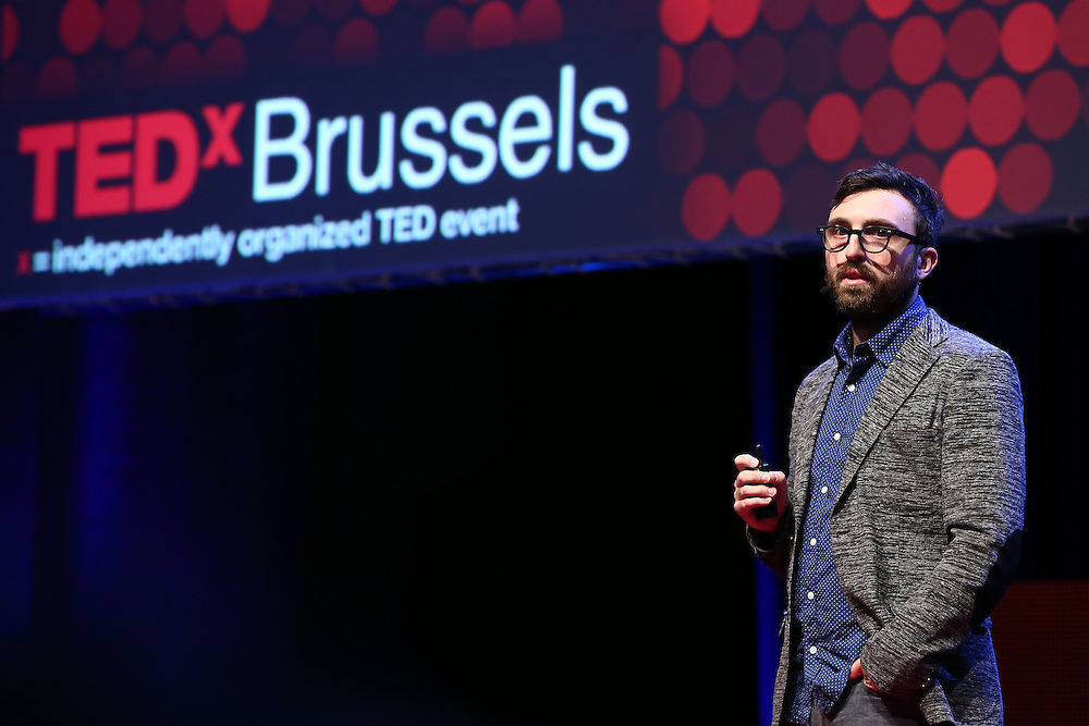"Session I - 28 October 2013<br /> <br /> Scott Thomas , Design Director for Obama's 2008 campaign 'YES we can""<br /> <br /> TEDX BRUSSELS 2013 - Belgium - Brussels - October 2013 © TEDx Brussels/Scorpix"