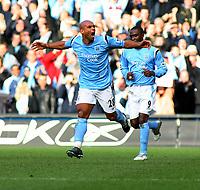 Trevor Sinclair Celebrates scoring 1st goal<br />Manchester City 2005/06 <br />Manchester City V Manchester United<br />The Premier League<br />14/01/06<br />Photo Robin Parker Fotosports International