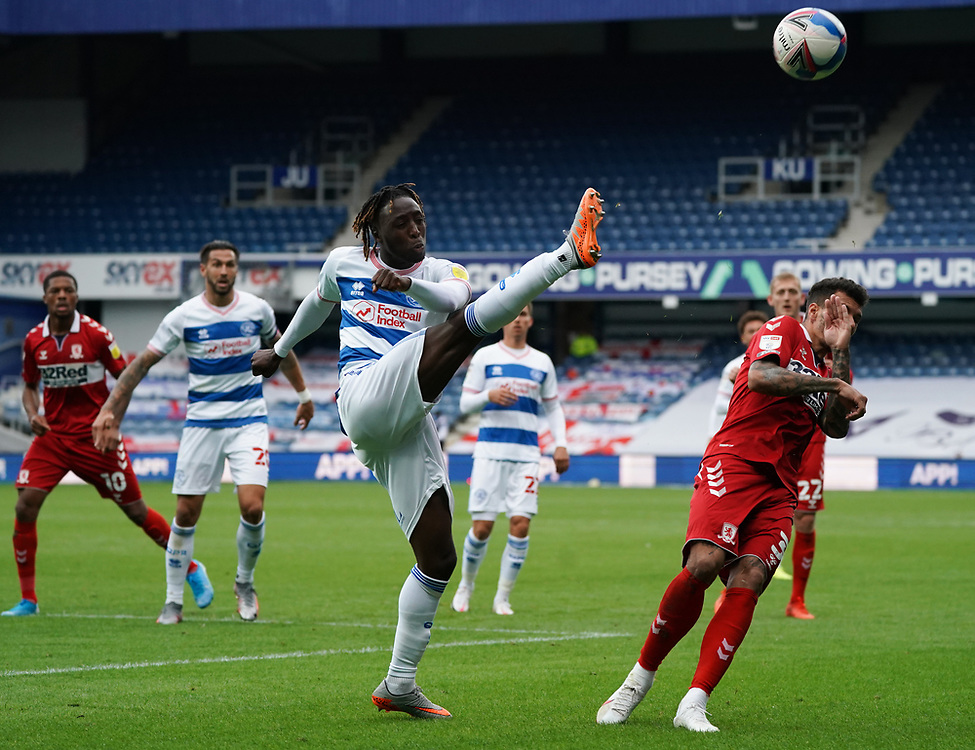 Queens Park Rangers' Osman Kakay clears the ball from Middlesbrough end<br /> <br /> Photographer Stephanie Meek/CameraSport<br /> <br /> The EFL Sky Bet Championship - Queens Park Rangers v Middlesbrough - Saturday 26th September 2020 - Loftus Road - London <br /> <br /> World Copyright © 2020 CameraSport. All rights reserved. 43 Linden Ave. Countesthorpe. Leicester. England. LE8 5PG - Tel: +44 (0) 116 277 4147 - admin@camerasport.com - www.camerasport.com