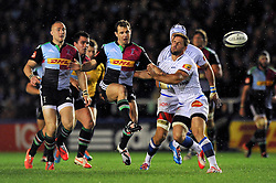 Nick Evans of Harlequins puts boot to ball creating a try for Danny Care - Photo mandatory by-line: Patrick Khachfe/JMP - Mobile: 07966 386802 17/10/2014 - SPORT - RUGBY UNION - London - Twickenham Stoop - Harlequins v Castres Olympique - European Rugby Champions Cup