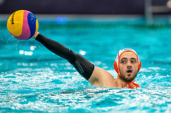 Pascal Janssen of the Netherlands in action against of France during the Olympic qualifying tournament. The Dutch water polo players are on the hunt for a starting ticket for the Olympic Games on February 17, 2021 in Rotterdam