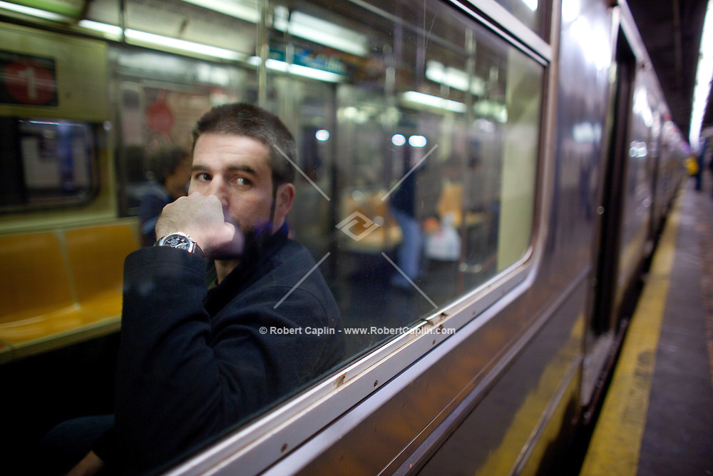 Peter Horan (pictured) lives in Harlem and his girlfriend, Afton Vermeer, lives in Sunset Park, Brooklyn for a story about NYC singles and the unique--and some might say uniquely annoying--fact of big city life: you can live in the same city as someone and it can still take you over an hour, or even two to get to their house. New York, NY on Friday, Oct. 9, 2009. Photo by Robert Caplin