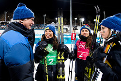 February 17, 2018 - Pyeongchang, SOUTH KOREA - 180217 Anna Haag, Charlotte Kalla and Ebba Andersson of Sweden celebrate with H.M Carl XVI Gustaf, King of Sweden, after WomenÃ•s Cross Country Skiing 4x5 km Relay during day eight of the 2018 Winter Olympics on February 17, 2018 in Pyeongchang..Photo: Jon Olav Nesvold / BILDBYRN / kod JE / 160176 (Credit Image: © Jon Olav Nesvold/Bildbyran via ZUMA Press)