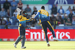 July 1, 2019 - Chester Le Street, County Durham, United Kingdom - Angelo Mathews of Sri Lanka celebrates with Kusal Perera after dismissing Nicholas Pooran with his first ball during the ICC Cricket World Cup 2019 match between Sri Lanka and West Indies at Emirates Riverside, Chester le Street on Monday 1st July 2019. (Credit Image: © Mi News/NurPhoto via ZUMA Press)