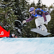 Snowboard-Cross racer Lindsey Jacobellis (USA) leads the final race at the 2009 LG Snowboard FIS World Cup on February 13th, 2009 at Cypress Mountain, British Columbia. Lindsey Jacobellis' race win secured first place overall and the gold medal for the event. Mandatory Photo Credit: Bella Faccie Sports Media\Thomas Di Nardo. Contact: Thomas Di Nardo, Snohomish, Washington, USA. Telephone 425-260-8467. e-mail: tom@bellafaccie.com