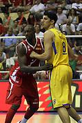 Maccabi Tel Aviv Basketball team (Yellow) Playing Hapoel Gilboa-Galil (Red) on October 16th 2011. Final result Maccabi 95 Hapoel 60. Lior Eliyahu