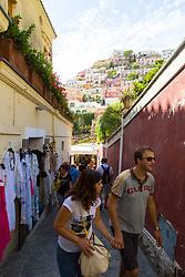 Positano, Italy, September 16 2017. Tourists climb the steep streets of Positano, Italy. © Paul Davey