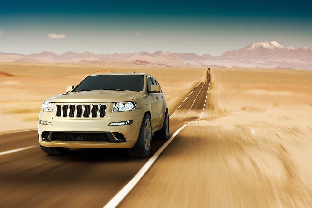 3D rendering of a SUV in a road at the Atacama Desert
