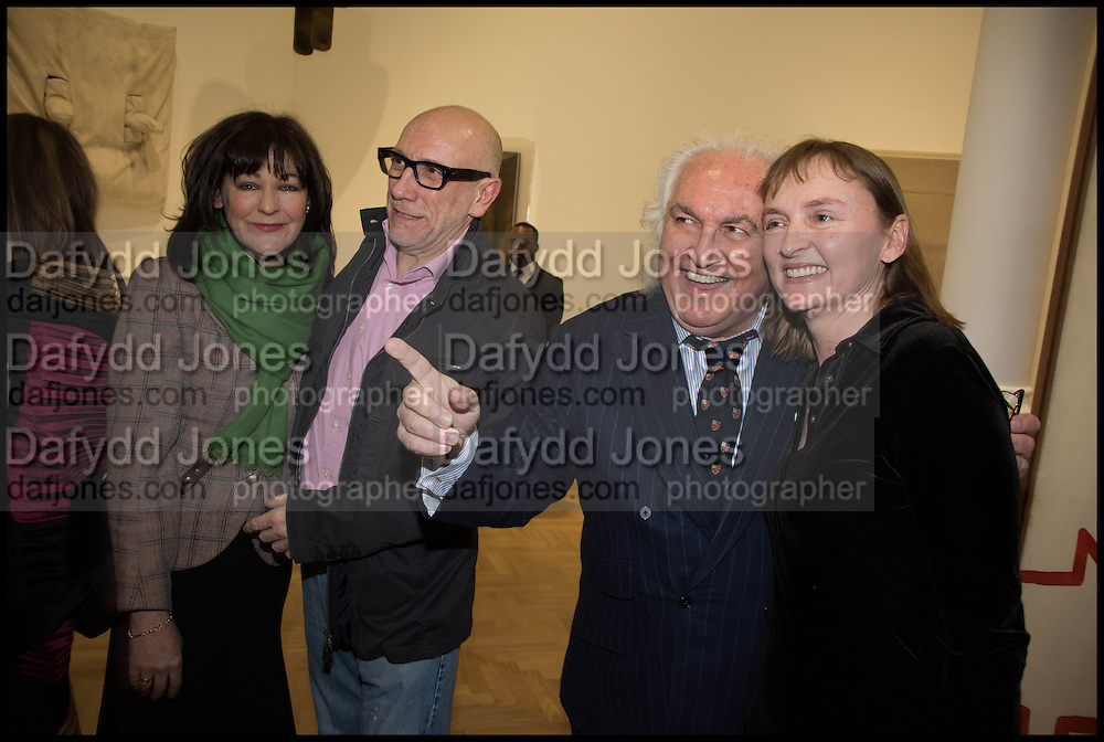 SOPHIA STEWART; BRIAN CLARKE; HARRIET VYNER; TONY SHAFRAZI,  Private view for A Strong Sweet Smell of Incense<br /> A Portrait of Robert Fraser, Curated by Brian Clarke. Pace Gallery. 6 Burlington Gardens. London. 5 February 2015.