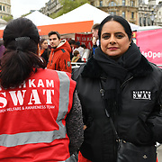 London, England, UK. 27 April 2019. Nushkim SWAT giving free food and warm tea all years round to the homeless all over UK at Vaisakhi Festival is a Sikh New Year in Trafalgar Square, London, UK.