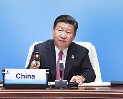(170904) -- XIAMEN, Sept. 4, 2017 (Xinhua) -- Chinese President Xi Jinping declares the opening of the ninth BRICS summit in Xiamen, southeast China's Fujian Province, Sept. 4, 2017. (Xinhua/Xie Huanchi) (wyl) (Photo by Xinhua/Sipa USA)