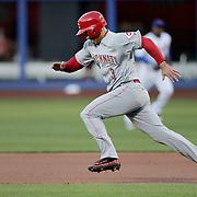 NEW YORK, NEW YORK - APRIL 27:  Ivan De Jesus #3 of the Cincinnati Reds runs to second during the New York Mets Vs Cincinnati Reds MLB regular season game at Citi Field on April 27, 2016 in New York City. (Photo by Tim Clayton/Corbis via Getty Images)