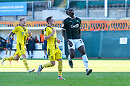 Freddie Ladapo (19) of Plymouth Argyle looks frustrated after missing a goal scoring shot during the EFL Sky Bet League 1 match between Plymouth Argyle and Burton Albion at Home Park, Plymouth, England on 20 October 2018.