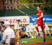 YANSHENG YANG (CHN) competes in the Mens Pole Vault competition during the second day of the Diamond League event Prefontaine Classic held at the University of Oregons Hayward Field.The Prefontaine Classic is named for University of Oregon track legend Steve Prefontaine. Kynard finished second in the event. Yang finished eighth in the event.
