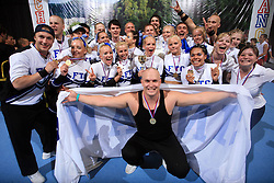 1st place in category Cheer Mixed - Senior for Funky Team Gorillaz, Finland during final ceremony at second day of European Cheerleading Championship 2008, on July 6, 2008, in Arena Tivoli, Ljubljana, Slovenia. (Photo by Vid Ponikvar / Sportal Images).