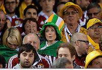 29 June 2013; British & Irish Lions supporters watch on during the closing stages of the game. British & Irish Lions Tour 2013, 2nd Test, Australia v British & Irish Lions, Ethiad Stadium, Melbourne, Australia. Picture credit: Stephen McCarthy / SPORTSFILE