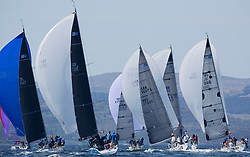 Sailing - SCOTLAND  - 25th-28th May 2018<br /> <br /> The Scottish Series 2018, organised by the  Clyde Cruising Club, <br /> <br /> First days racing on Loch Fyne.<br /> <br /> RC35, Fleet, Downwind, GBR 732R, Wildebeeste, Craig Latimer, Ker 32<br /> <br /> Credit : Marc Turner<br /> <br /> <br /> Event is supported by Helly Hansen, Luddon, Silvers Marine, Tunnocks, Hempel and Argyll & Bute Council along with Bowmore, The Botanist and The Botanist
