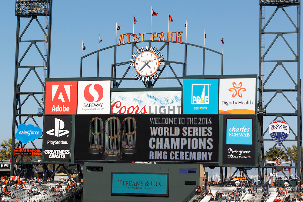 SAN FRANCISCO, CA - APRIL 18:  General view of the scoreboard during the San Francisco Giants 2014 World Series Ring ceremony before the game against the Arizona Diamondbacks at AT&T Park on April 18, 2015 in San Francisco, California.  (Photo by Jason O. Watson/Getty Images) *** Local Caption ***