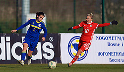 ZENICA, BOSNIA AND HERZEGOVINA - Tuesday, November 28, 2017: Wales' Jessica Fishlock and Bosnia and Herzegovina's Marija Aleksić during the FIFA Women's World Cup 2019 Qualifying Round Group 1 match between Bosnia and Herzegovina and Wales at the FF BH Football Training Centre. (Pic by David Rawcliffe/Propaganda)