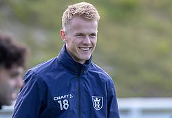 Andreas Smed (FC Helsingør) under kampen i 1. Division mellem FC Helsingør og Skive IK den 18. oktober 2020 på Helsingør Stadion (Foto: Claus Birch).