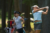 Jean Chua tees off at the 7th hole Friday afternoon during the LPGA Symetra Tour at Beaver Meadow Golf Course.  (Karen Bobotas/for the Concord Monitor)