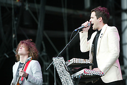 David Keuning and Brandon Flowers of The Killers, at T in the Park 2005, on the main stage at T in the Park, 10th July 2005..©Michael Schofield..
