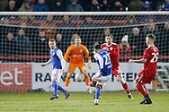 Ipswich Town midfielder Andre Dozzell (23) shoots wide during the The FA Cup 3rd round match between Accrington Stanley and Ipswich Town at the Fraser Eagle Stadium, Accrington, England on 5 January 2019.