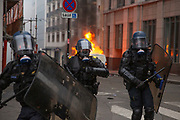 Mcc0086782 . Daily Telegraph<br /> <br /> DT News<br /> <br /> Scenes on the on Ave de Freidland and Blvd Hausmann as protests turn violent in Paris for another weekend .<br /> <br /> Paris 8 December  2018
