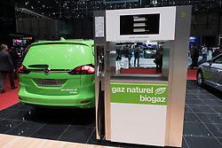 Display of pump dispensing natural biogas by Gas Naturel Biogaz company at 87th Geneva International Motor Show in Geneva Switzerland 2017