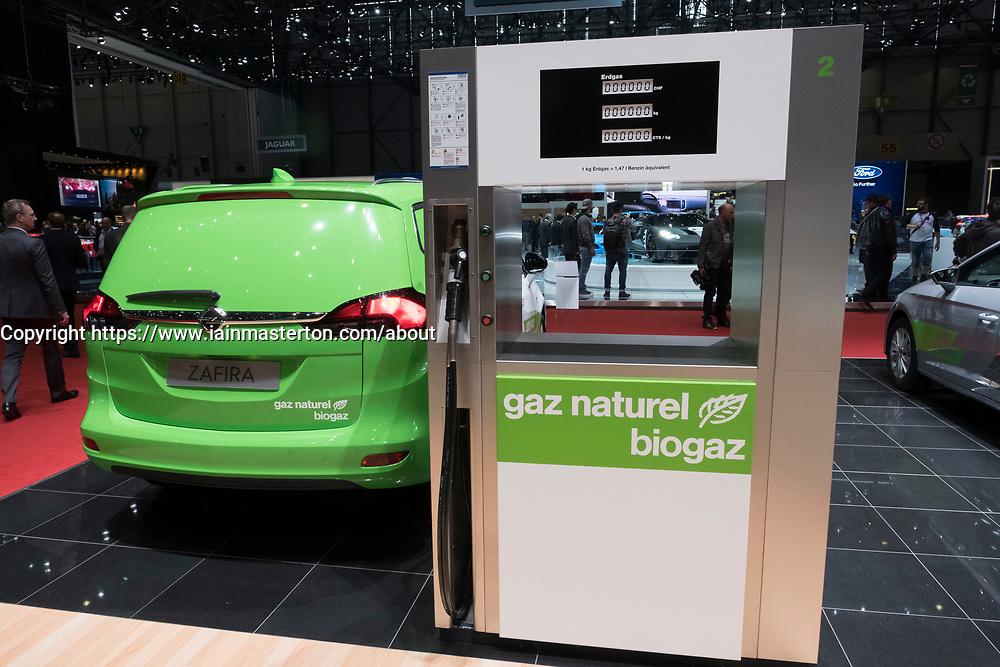 Display of pump dispensing natural biogas by Gas Naturel Biogaz company at 87th Geneva International Motor Show in Geneva Switzerland 2017